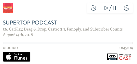 Podcast: CarPlay, Drag & Drop, Castro 3.1, Panoply, and Subscriber Counts image